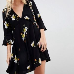 Free People Black Floral Time Button Wrap Dress XS